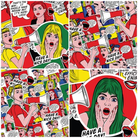 Retro comic book background in 60s style. Pop art background. Pin up women with speech bubbles. Fashion colorful illustration. Comic pattern.