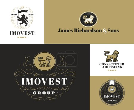 Set of Lion logo templates