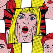 Pop art surprised blond woman