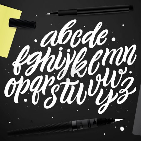 Illustration for Vector set with hand written ABC letters isolated on black background. Calligraphy collection. Brush font. Typographic alphabet for your designs: logo, poster, banner, card. - Royalty Free Image