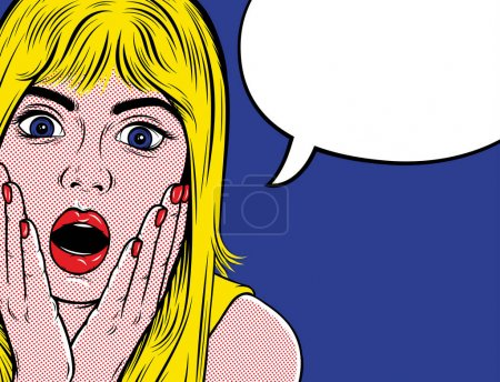 Illustration for Pop art surprised woman. Advertising poster. Promo girl your advertising. Vector illustration for Designs: Poster, Invitation, Banner, etc. Retro comics style. - Royalty Free Image
