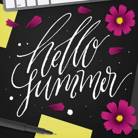 Hello Summer. Brush lettering composition