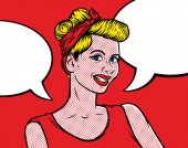 Pop art vintage comic woman with speech bubble Girl talking Retro style Vintage advertising poster Pin up style Retro Clip Art Vector Illustration for banner flyer
