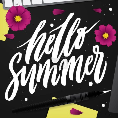 Hello Summer. Brush lettering composition.