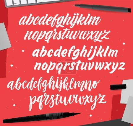 Vector cursive alphabet in the style of lettering and calligraphy.