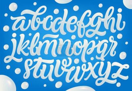 Milk, yogurt or cream alphabet set. White letters on blue background. Hand lettering set. Dairy design element. Vector eps 10 for packaging design.