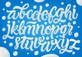 Milk yogurt or cream alphabet set White letters on blue background Hand lettering set Dairy design element Vector eps 10 for packaging design