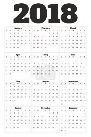 Calendar 2018 year simple style. Week starts from sunday