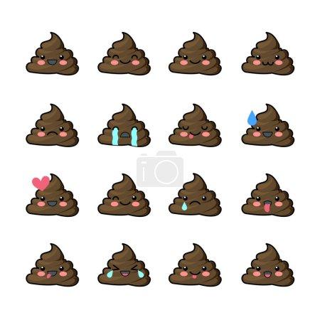 Set of shit icons, smiling faces, symbol, emoji, emoticons, vector illustration.