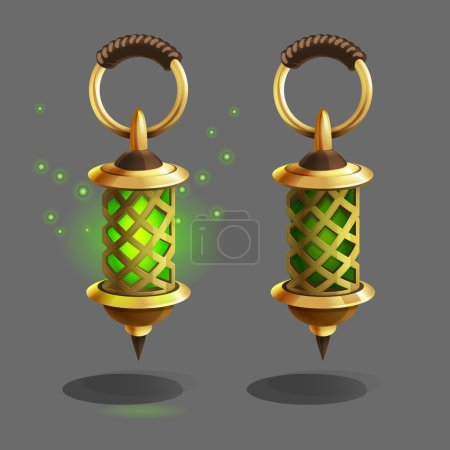 Cartoon colorful ancient lamps