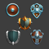 Collection of decoration armor for games Set of medieval cartoon shields Vector illustration