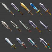 Collection of decoration weapon for games Set of medieval cartoon swords Vector illustration