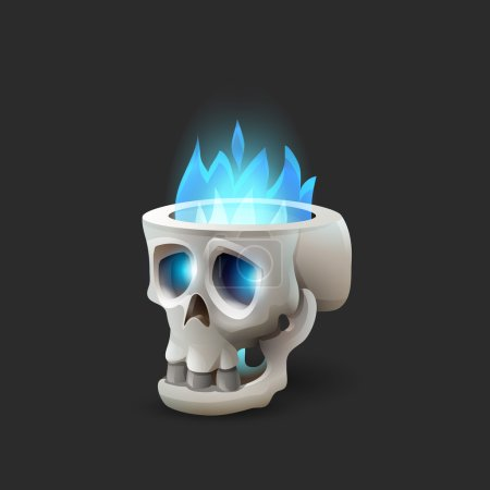 Halloween scull with blue flame