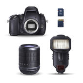 Realistic digital camera and accessories: sd card lens flare Vector illustration on white background