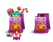 Happy Halloween sweets and candies icons