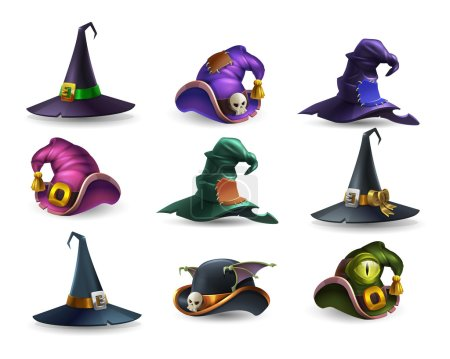 Illustration for Set of colorful halloween hat and witch cap icons. Vector illustration. - Royalty Free Image