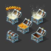 Colorful isometric chest set with bonus