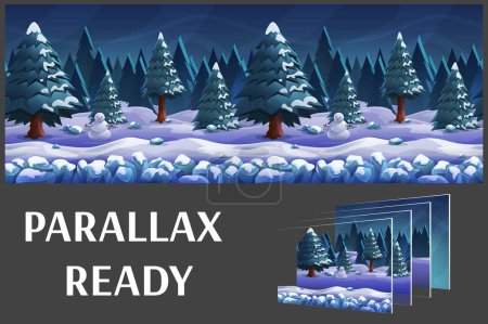 Seamless cartoon nature winter landscape, vector u...