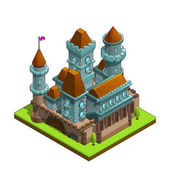 Isometric medieval castle isolated on white background Vector illustration