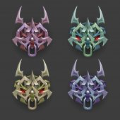 Cartoon totems decoration for game Vector illustration