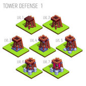 Set of seven isometric medieval tower defense for game isolated on white background Vector illustration