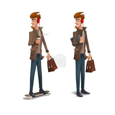 Illustration pour Caractères hipster avec barbe isolée sur fond blanc. Illustration vectorielle . - image libre de droit