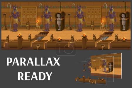 Cartoon landscape inside Egyptian tomb