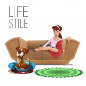 Cute happy girl and dog sitting on sofa isolated on white background Vector illustration