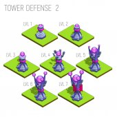 Set of seven isometric medieval magic tower defense for game isolated on white background Vector illustration