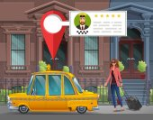 girl  goes in the New York taxi