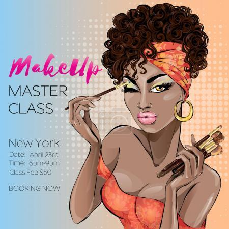 Illustration for Makeup master class banner with beautiful brown skin tone woman, modern pin up style. Pop-art beauty brown lady with curly hair apply the make-up. Makeup brushes, cosmetics set hand drawn vector illustration background art - Royalty Free Image