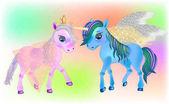 Fairy Pegasus and  Beautiful Ponies Cute cartoon little  baby horse