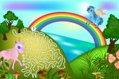 Colorful game for children with a pegasus and unicorn Maze for children