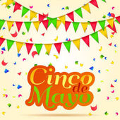 Cinco De Mayo beautiful lettering celebration vector background with garland confetti  royalty free stock for greeting card ad promotion poster flyer social media EPS 10