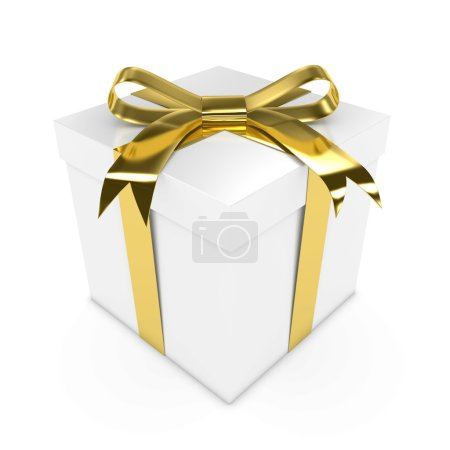Anniversary/Wedding Present - 3D render of a White Gift Box with a Gold Ribbon isolated on white