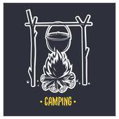 Illustration of bonfire Camping