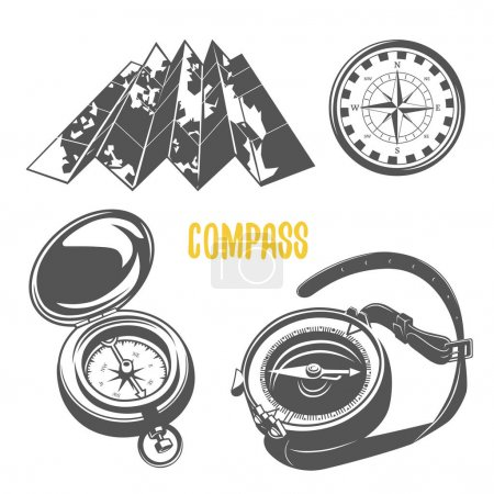 Compass. Set of camping equipment