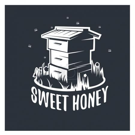 Sweet honey. Vector illustration hive.