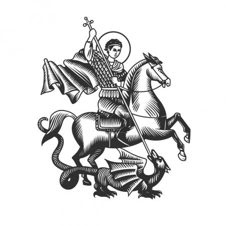 Illustration pour Saint George. Illustration vectorielle. Objets vectoriels noir et blanc - image libre de droit