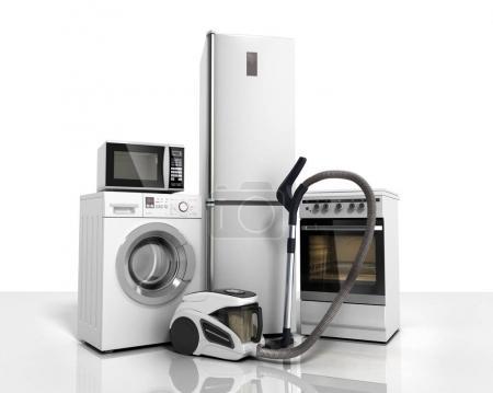 Appareils électroménagers Groupe de réfrigérateur blanc machine à laver cuisinière