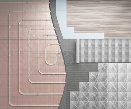 Photo pour Concept d'un sol chaud, le système de chauffage est apposée sur le plancher avec différentes variantes de revêtements décoratifs 3d render - image libre de droit