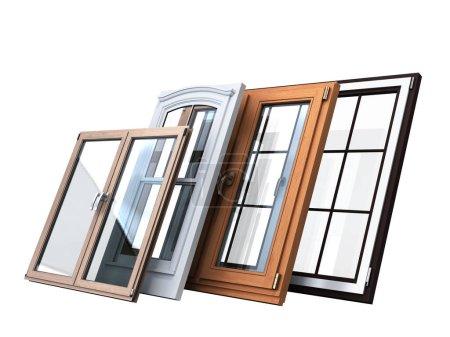 Différents tipes de fenêtre promotion arrière-plan rendu 3d sur