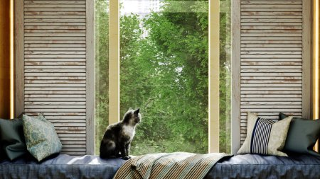 confortable concept de la maison chat assis sur un matelas par la fenêtre rendu 3d
