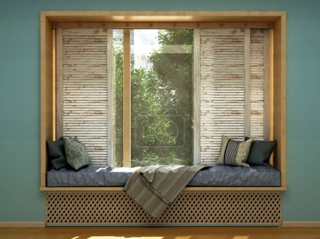 concept de maison confortable un matelas par la fenêtre 3d rendre l'image