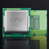 3d illustration modern multicore CPU on black background