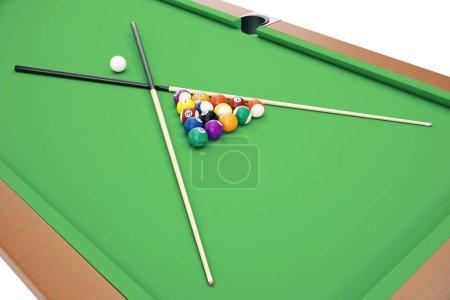 3D illustration Billiard balls on