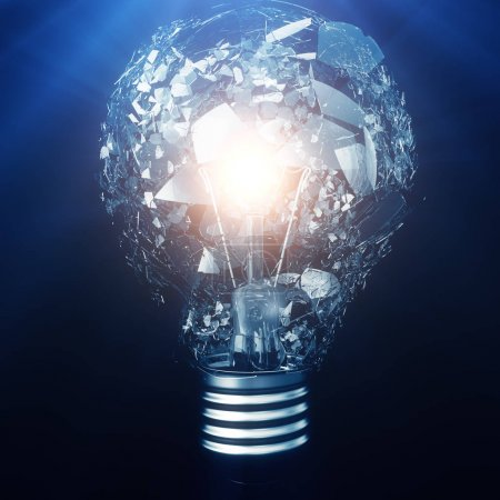 Photo for Exploding light bulb on a blue background, with concept creative thinking and innovative solutions, 3D rendering - Royalty Free Image