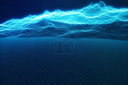 Photo for 3D illustration concept internet connections in cloud computing. Cyberspace landscape grid. 3d technology. Abstract blue landscape on black background with light rays - Royalty Free Image