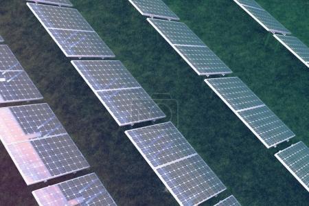 Photo pour Concept d'énergie solaire de l'illustration 3D. Réflexion du ciel coucher de soleil sur les panneaux photovoltaïques. Alimentation, écologie, technologie, électricité - image libre de droit