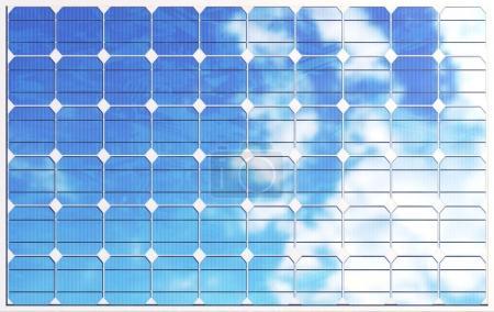 Photo pour 3D illustration des panneaux solaires sur fond de ciel. Énergie propre de remplacement du soleil. Alimentation, écologie, technologie, électricité - image libre de droit